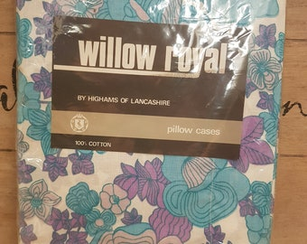 Vintage 1970s floral pillow cases brand new unopened