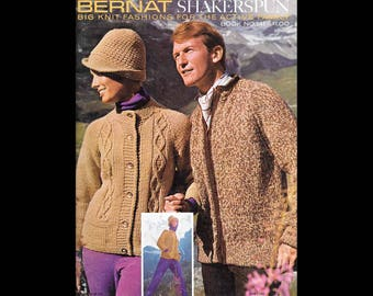 Bernat Shakerspun - Big Knit Fashions for the Active Family - Bernat Handicrafter Book No. 141 - Vintage Knitting Booklet c. 1966 - Patterns