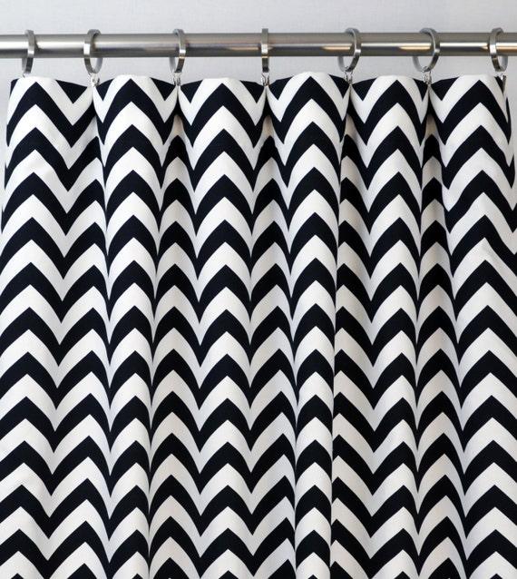 Chevron blanc noir Zig Zag rideaux poche de tige 84 96 108