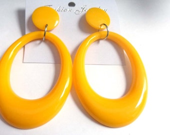 VINTAGE Earrings OVAL Earrings Yellow Hoop Earrings 3.75 in long
