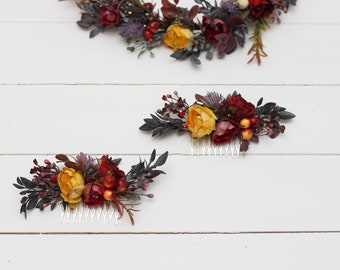 One flower comb Fall floral accessories Red yellow Floral headpiece Wedding hair piece Bridal comb  Bridesmaid Hair flowers Flower crown