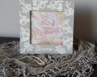 "Frame Gray White French Toile 7.5"" Sq Roses Fleurs French Flower Garden Picture Frame Romantic Wedding Shabby Chic Cottage Farmhouse Style"