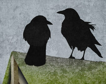Crows on a Mossy Roof with Sky Blue Background with Antique Texture-Signed Fine Art Photograph, Housewarming Gift