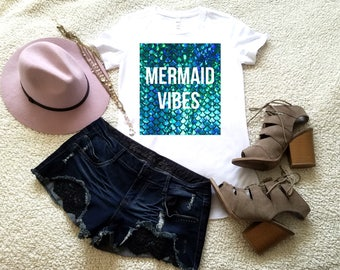 Mermaid vibes graphic t-shirt available in size s, med, large, and Xl for women funny graphic shirt