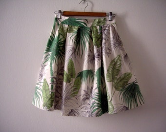 Tropical Leaves Printed High Waisted Skirt, Exotic Print, Green Pleated Knee Length Skirt, Jungle Print, Made to Order