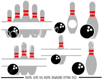 Bowling Ball And Pins svg / dxf / eps / png files. Digital download.