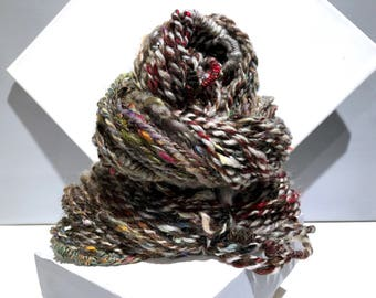"Thick Thin Art Yarn, bulky handspun yarn ""Sticks and Stones"" brown, silver blue w/ random color, Crochet, Knitting, weaving yarn, bulky yarn"
