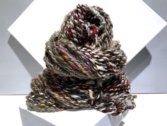 "Thick Thin Art Yarn, bulky handspun yarn ""Sticks and Stones"" brown, silver blue w/ random color, Crochet, Knitting, weaving yarn, bulky yarn"