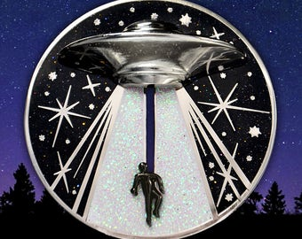 PREORDER Alien Abduction UFO Soft Cloisonné Jumbo Pin - Cryptozoology Tracking Society - Extraterrestrials Aliens