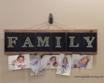 Family Photo Board Sign. Photo Display. Handmade Family Sign. Home Decor. Family Plaque. Photo Frame Wall Decor. Wood Sign. Wood Plaque