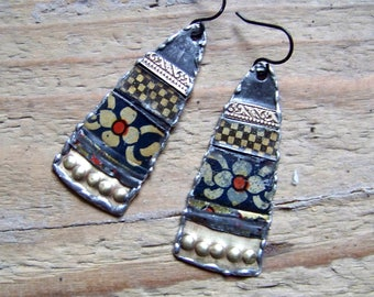 Recycled  tin earrings    *9