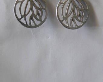 Tribal round Silver Earrings