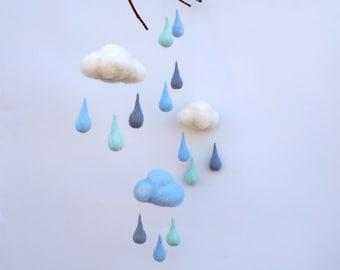 Baby mobile Felt mobile Pastel Raindrops Blue Gray Mint mobile Felt Cloud Mobile Rain childrens decor  Nursery decor Nursery room