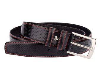 "Golf belts for Men Black leather belt Perforated leather Red stitches 32""- 42"""