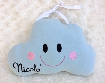 Padded cloud to hang or back birth bow or pillow