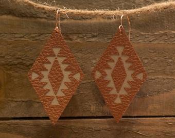Diamond Faux Leather Earrings