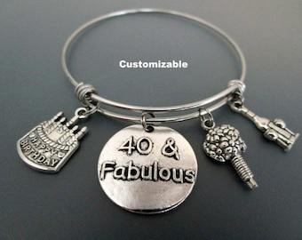 40 and Fabulous / 40th Birthday Charm Bracelet /  Gift For Fortieth Birthday  / Birthday Charm Bangle / Happy Birthday Charm Bracelet /