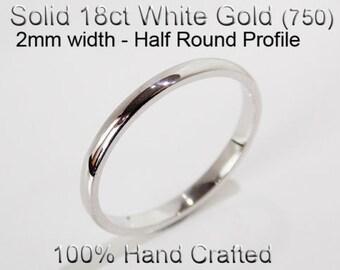 18ct 750 Solid White Gold Ring Wedding Engagement Friendship Half Round Band 2mm