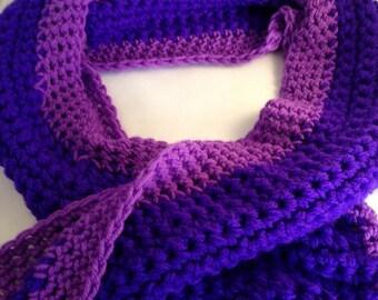 Chunky crochet scarf , purple scarf, crochet scarf,  neck warmer, teenager gift, adult gift