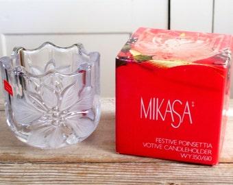 Mikasa Candleholder, Festive Poinsettia Candle Holder, Vintage Votive Candleholder, Christmas Decor, Seasonal Decor, Crystal Candleholder