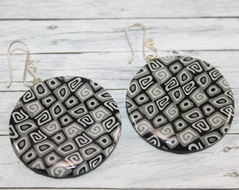 Black and white big round earrings
