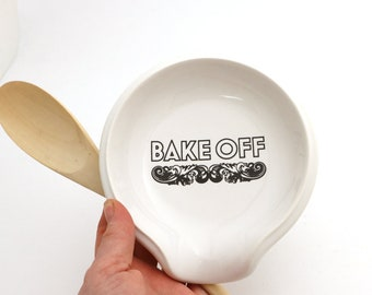Great British Bake Off, ceramic spoon rest, bake off prize, star baker, scrummy, mary berry lover, gift for baker