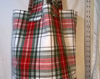 Plaid Tote w/Burlap Bottom