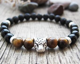 black panther bracelet mens animal bracelet mens black bracelet panther jewelry animal bracelet mens bracelet