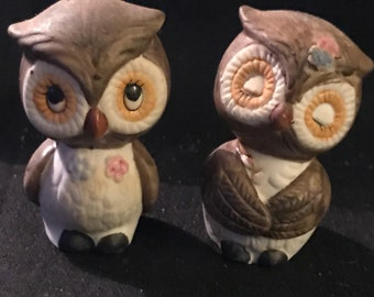 Vintage Owl Salt and Pepper Shakers Retro 1970 Owl Collectibles