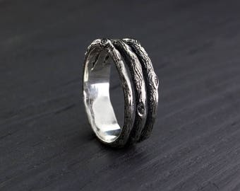 Unique silver tree band, Men's branch wedding ring, Men's unique design tree ring , Man's silver ring, Big wedding band, Anniversary ring