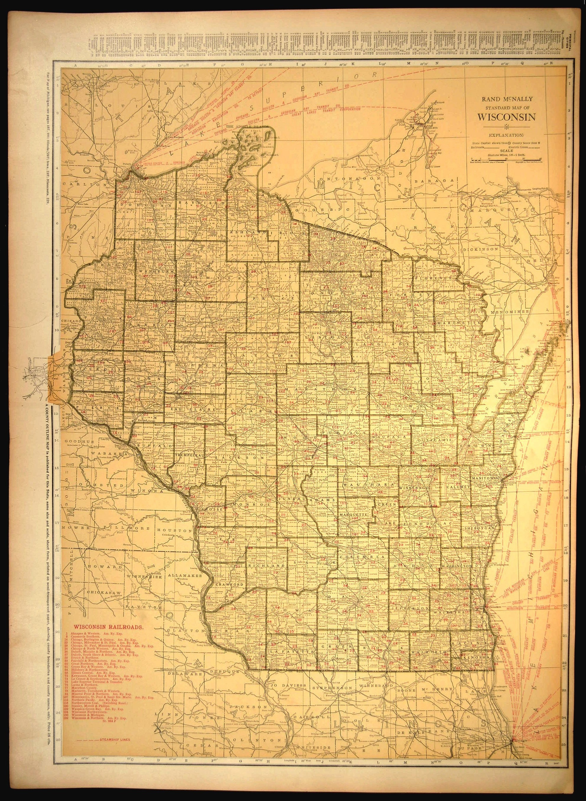 Wisconsin Map EXTRA LARGE Wisconsin Railroad Map Wall Art