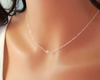 Gemstone Choker, Crystal Quartz, Simple Necklace, Clear Rock Semiprecious Stone, Minimalist, Sterling Silver Jewelry, Free Shipping