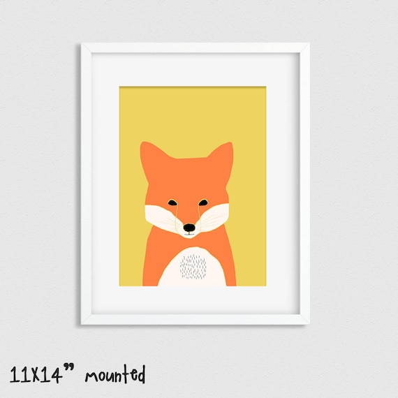 Fox Print Woodland Nursery Decor Nursery Prints Woodland