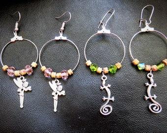 hoop earrings for girl choice; fairy or gecko