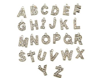 Antique Silver Individual Initial Alphabet Rhinestone Charms - You Pick- 31-14A