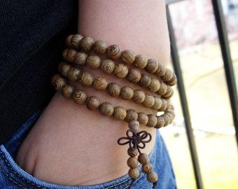 8 MM Wenge Wood Mala Bead, 108 Mala Wood Bracelet, Bead Bracelet, Mala Bracelet, Buddhist Jewelry, Prayer Bracelet, Yoga Meditation Healing