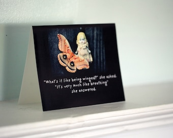 "Art Notecard Adventures of Claudia Antique Porcelain Doll ""Being Winged"" Moth Typographic Card"