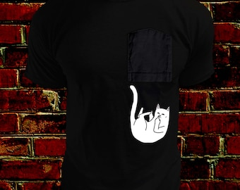 Funny Cat Falling From Pocket / Middle finger fun shirt