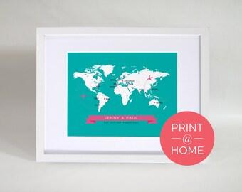 Personalised World Map Travel Design - Print at Home - Digital File