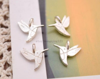 4 pcs tiny bird charms pendants in sterling silver, JT1