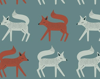Sneaky Little Foxes CAMPSITE  Art Gallery Fabrics, Pat Bravo, Baby Quilt, Cotton Fabric, Woodland Nursery, Teal, Fox, Fabric By the Yard