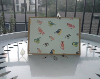 Cute Colorful Little Bird Stationary Set of 10 Notecards. Kraft Paper. Light blue. Colorful birds.