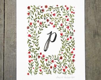 Monogram Letter P floral art print
