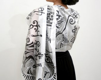 Silk Scarf. Abstract hand painted silk scarf  in black and white colors. Ready to ship.