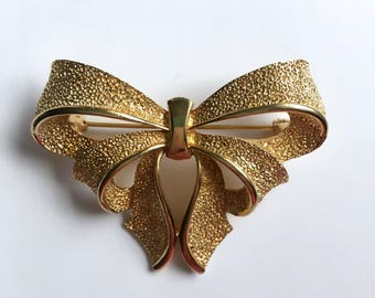 Vintage Sarah Coventry Gold Tone Double Bow Brooch Pin Ribbon