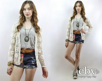 Vintage 90s Cream Crochet Cardigan Sweater S M Cream Cardigan Cream Sweater Cream Jumper Crochet Sweater Crochet Jumper Hippie Sweater