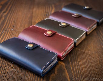 "BUILD-YOUR-OWN - iPhone 6+, 7+ & 8+ (5.5"") cell phone wallet case with snap closure in Horween leather"