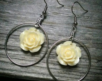 Yellow flower dangle hoop earrings
