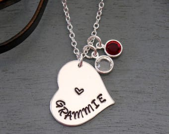 Grammie Necklace, Personalized Grandma Necklace, Grandma Heart Necklace, Birthstone Necklace, 1, 2, 3 Birthstones, Nana, Mimi, Nonie, Grammy