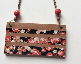 Recycled timber pendant necklace. Camphor Laurel pendant.Cherry blossom washi paper.Copper chain.